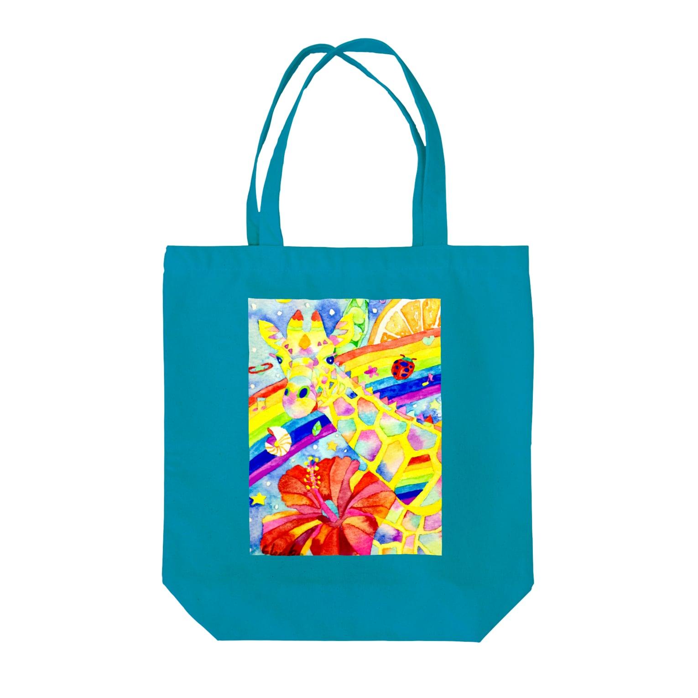 shu-shuの水彩イラスト キリン Tote bags