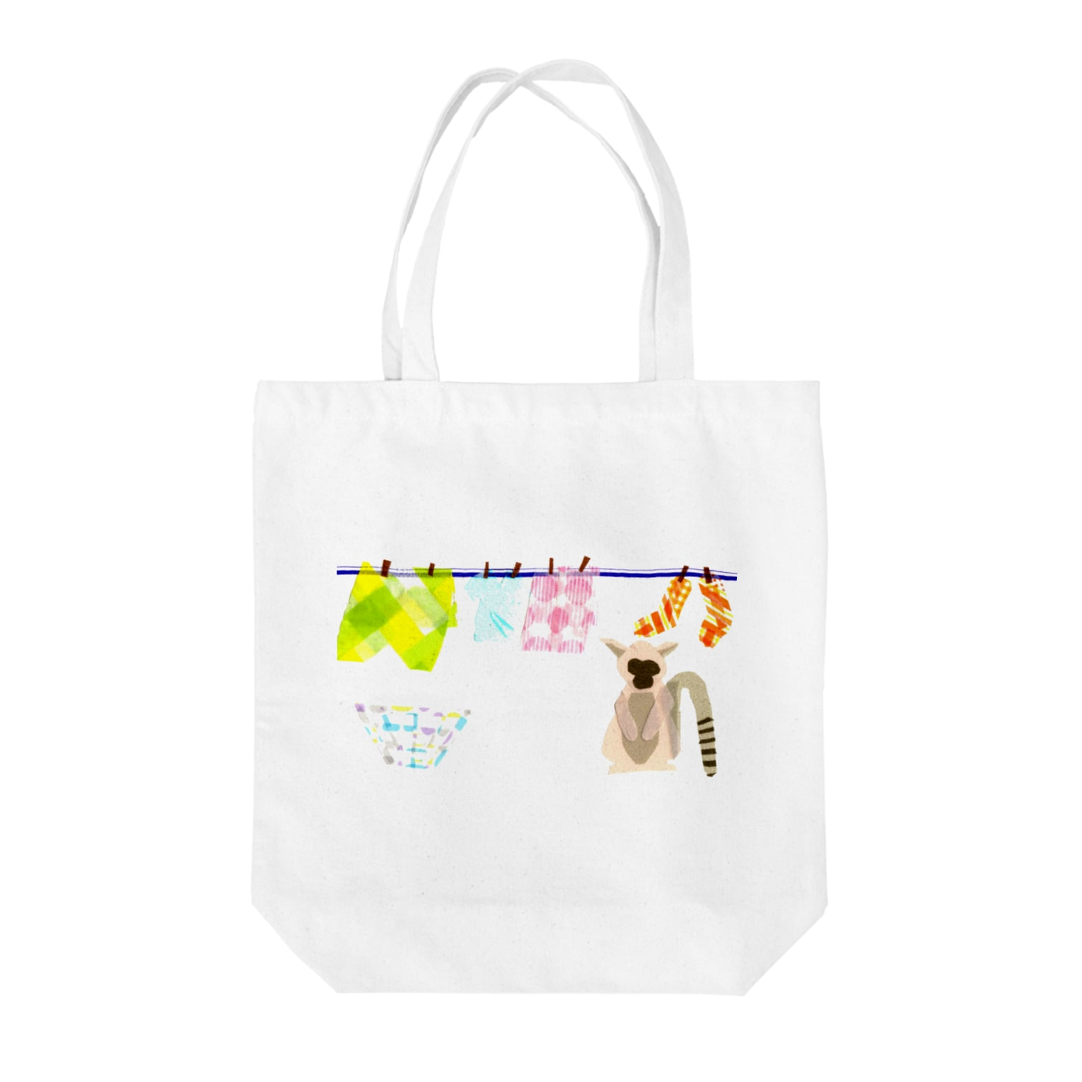 Animal pokkeの洗濯好きなワオキツネザルさん Tote bags
