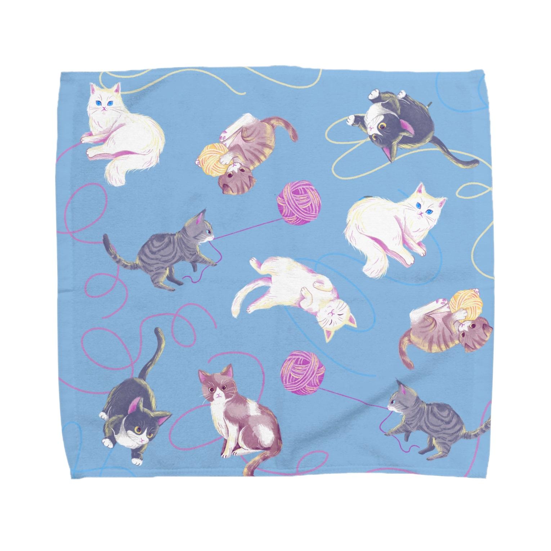 Fanfleecyのmeow meow(blue) Towel handkerchiefs