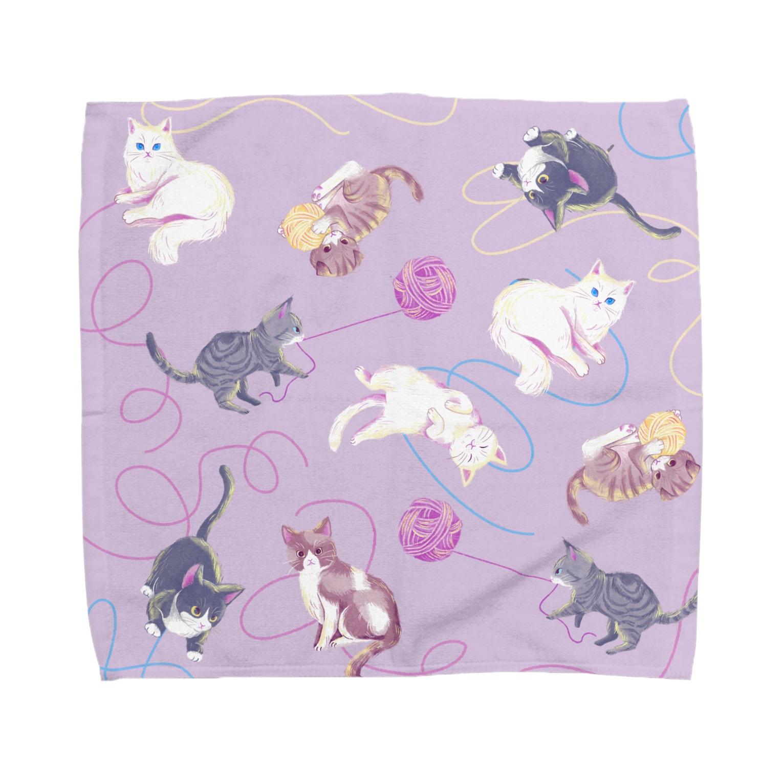 Fanfleecyのmeow meow(purple) Towel handkerchiefs