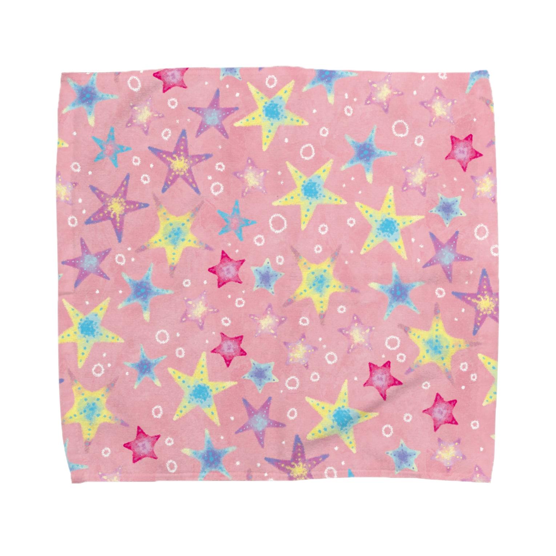 Fanfleecyのヒトデぎっしり柄(pink) Towel handkerchiefs