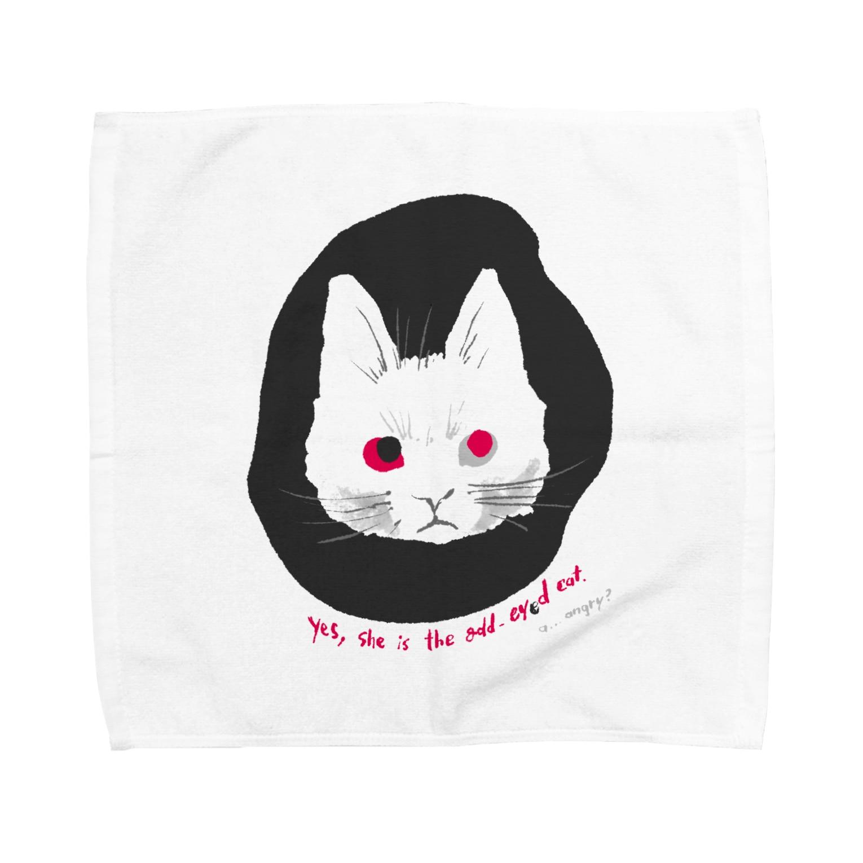 mya-mya=MIYA JUNKO's shop 02のodd-eyed cat Towel handkerchiefs