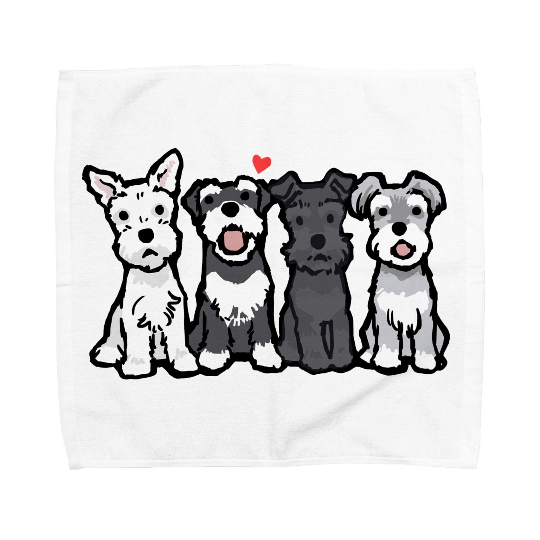 BLENHEIMのシュナウザーカルテット Towel handkerchiefs
