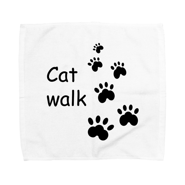 しる猫☆ミ雑貨店のCat walk Towel handkerchiefs