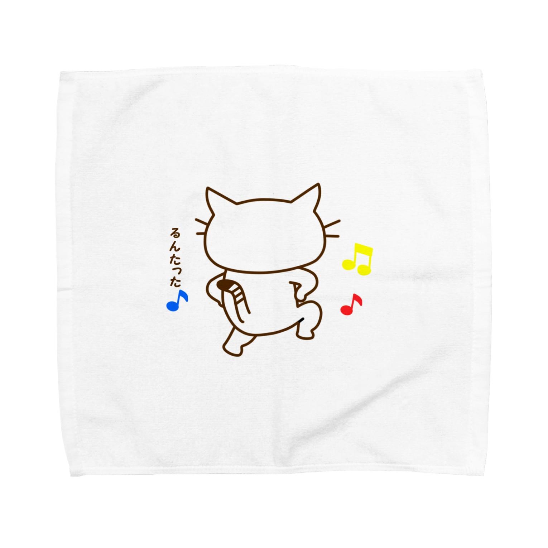 eigoyaのスキップする白猫 Towel handkerchiefs