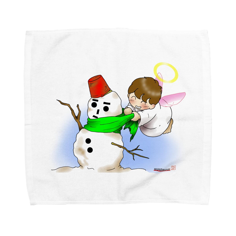「みな☆の」の雪だるまと仲良し天使ちゃん Towel handkerchiefs