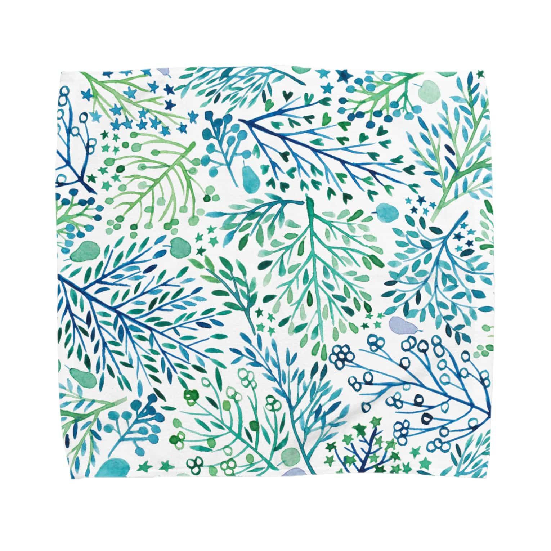Suteneko-designの青い木たち Towel handkerchiefs