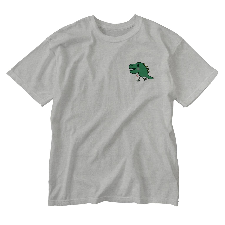 chyumonの恐竜スケーター Washed T-shirts