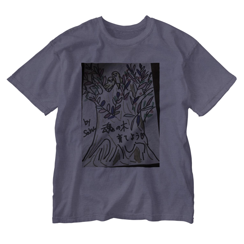 サクアンドツバミルヨシの魂の木を育てよう Washed T-shirts