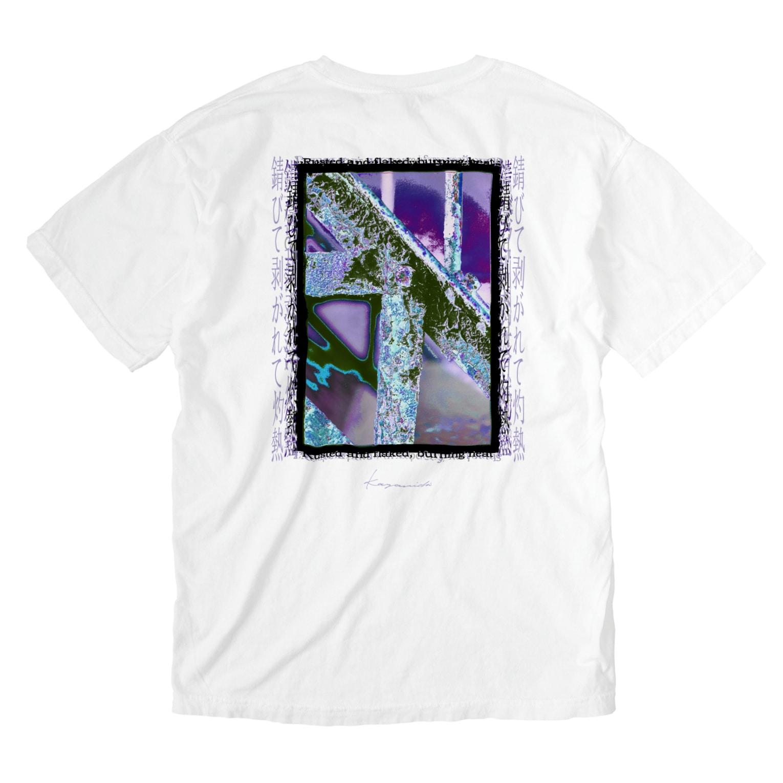 Kazumichi Otsubo's Souvenir departmentの錆びて剥がれて灼熱 ~ パープル Washed T-shirtsの裏面