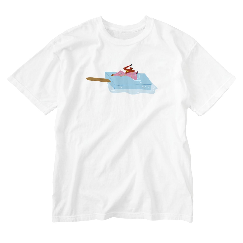 明季 aki_ishibashiのアイスべき女たち Washed T-shirts