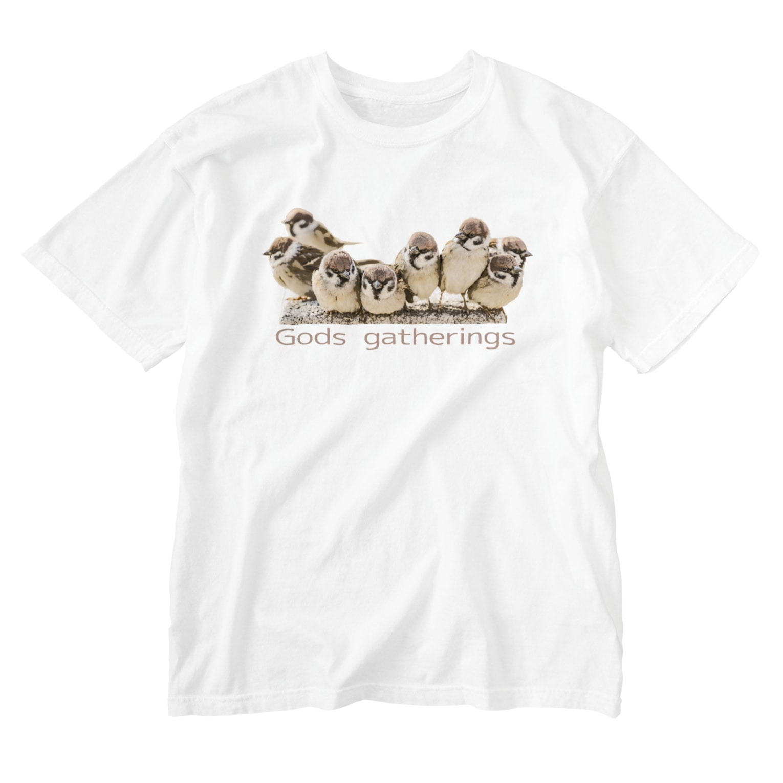 aliveONLINE SUZURI店の東京すずめ Washed T-shirts