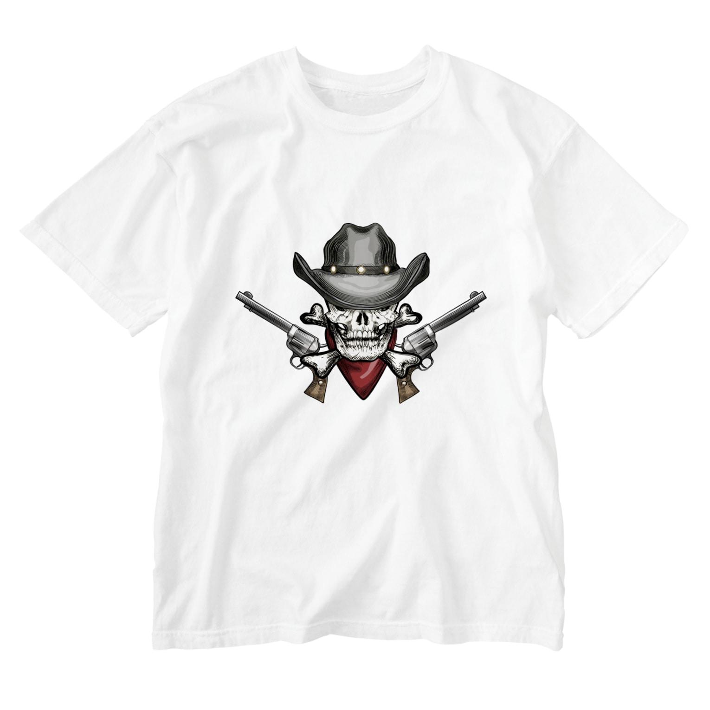 IZANAGIのアンティークなドクロ~ Washed T-shirts
