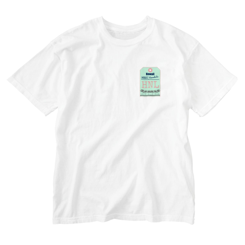 mahaloa968のハワイバゲージタグ風(やしの木) Washed T-shirts