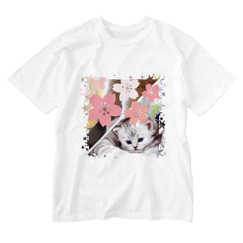 テル!のお店のサクラとニャンコの親子 Washed T-shirts