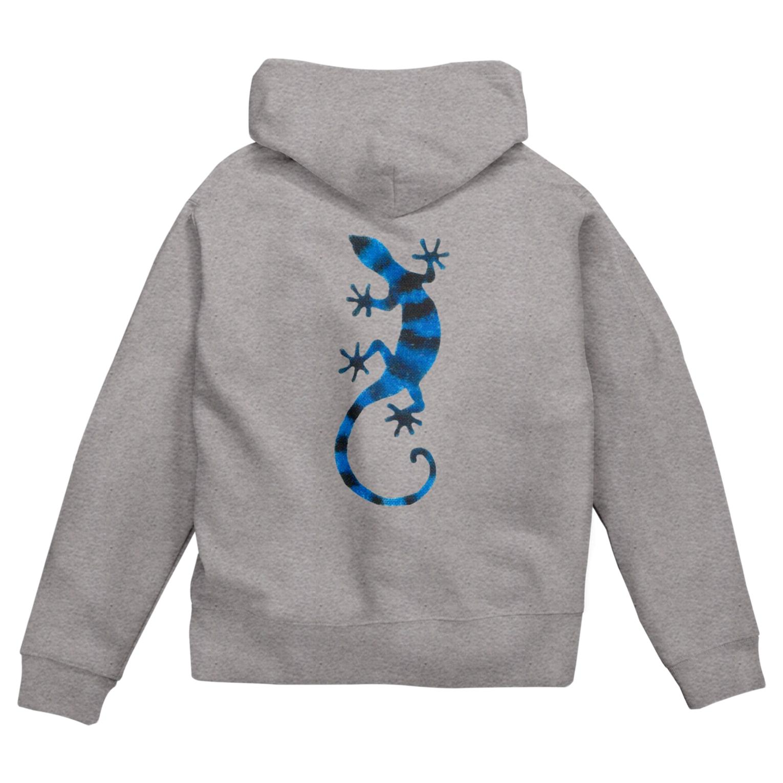 ツバメ堂の青いしましまのトカゲ Zip Hoodies