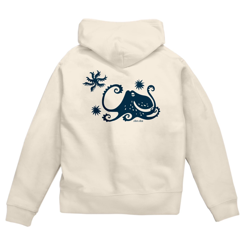 obaobaの蒼い蛸 Zip Hoodies