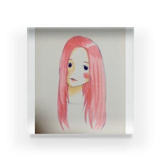 残機0のお店のピンク髪の女 Acrylic Block