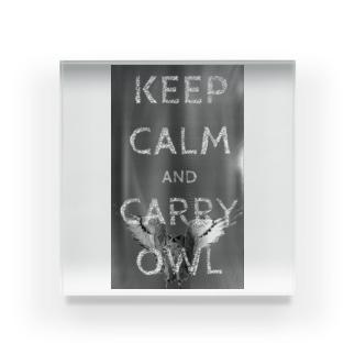 Keep calm and carry owl Acrylic Block