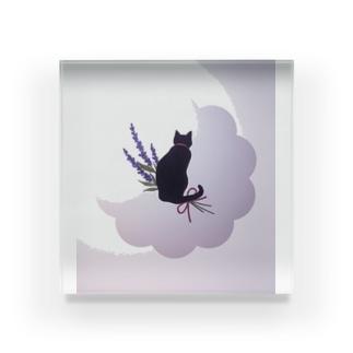 黒猫+パープル Acrylic Block