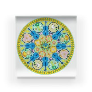 Bellne.のmusic circle(白) Acrylic Block