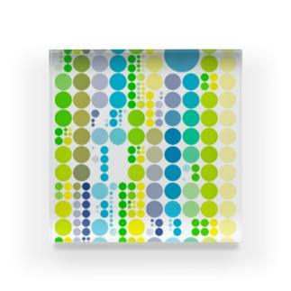 緑色と黄色と青色が好きな人のためのグッズ Acrylic Block