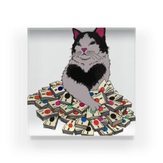 猫に大金 Acrylic Block