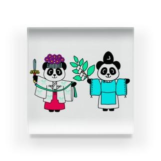 パンダ宮司とパンダ巫女淡色 Acrylic Block