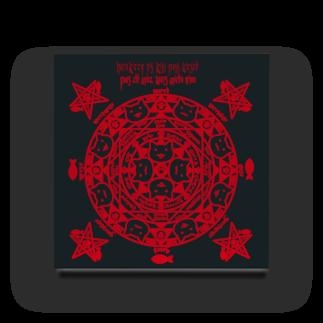 PygmyCat suzuri店の猫召喚魔方陣(紅色) アクリルブロック