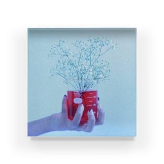 ビーカーと花 Acrylic Block