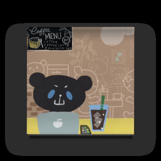 おやまくまオフィシャルWEBSHOP:SUZURI店のブラックおやまくまとカフェ アクリルブロック