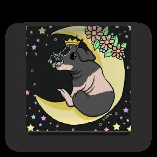 Lichtmuhleの月とモルモット(ゆるかわ×スキニーギニアピッグ) アクリルブロック
