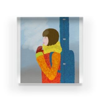 Snow Guitar Girl Acrylic Block