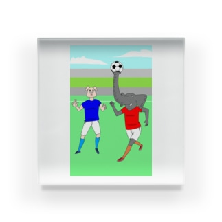 ボールを運ぶゾウ Acrylic Block