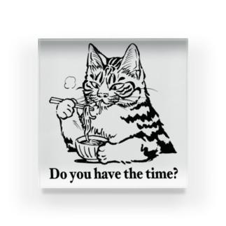 時そば猫 アクリルブロック