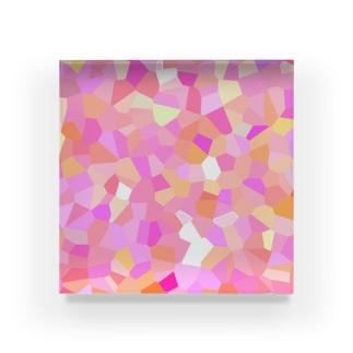 春の華咲く光モザイク Acrylic Block
