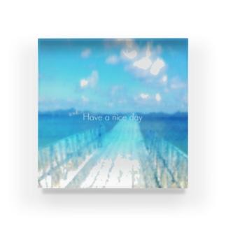 Sky blue3 Have a nice day Acrylic Block