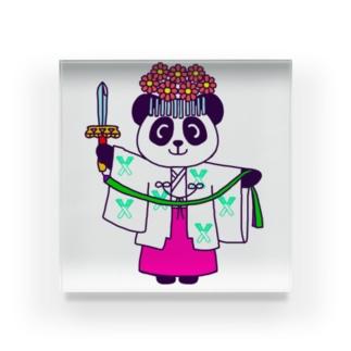パンダ巫女 舞姿 アクリルブロック