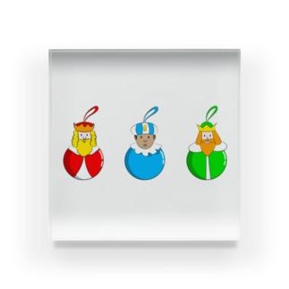 Caspar, Melchior and Balthazar.   Christmas baubles with Three Wise Men. Acrylic Block