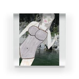 スクール水着の女の子 Acrylic Block