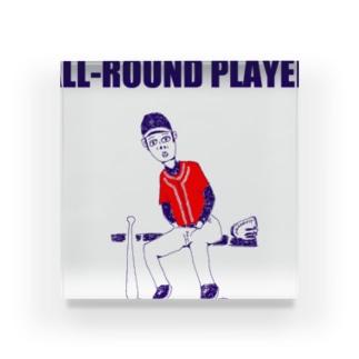 野球デザイン「オールラウンドプレイヤー」 Acrylic Block