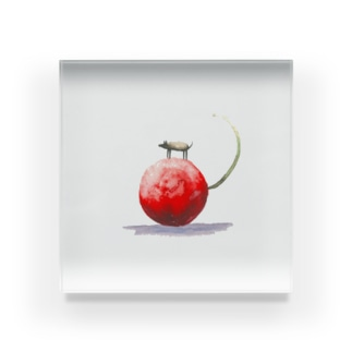 大きな赤いさくらんぼ Acrylic Block