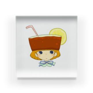 たべもの帽子*レモンティー Acrylic Block