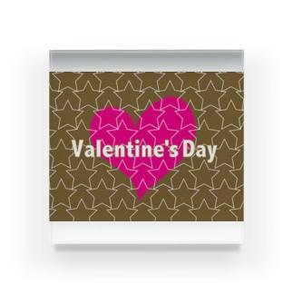 バレンタインのかわいいピンクのハートと☆印 Acrylic Block