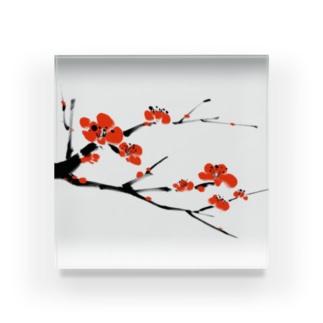 梅 水墨画 Plum Blossom - 凛として美しく Acrylic Block