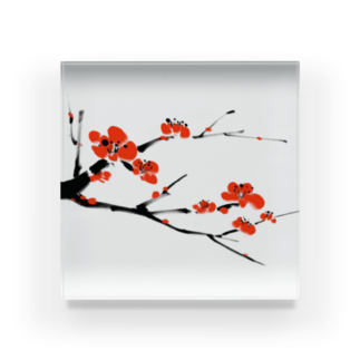 Art Experience Studio - Japanの梅 水墨画 Plum Blossom - 凛として美しく Acrylic Block
