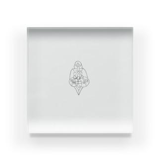 JUNSENSETA(瀬田純仙)古代の絵風20190308 発芽 アクリルブロック