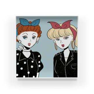 50s rocabilly girls Acrylic Block