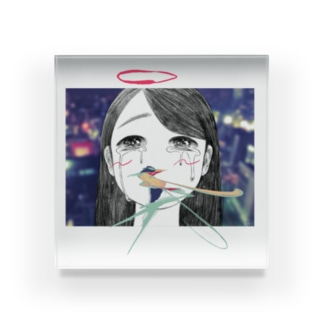 それは天使も泣くわな~😢 Acrylic Block