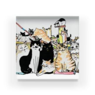 ねこ大集合-猫竹 Acrylic Block